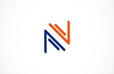 abstract line letter N logo