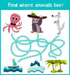 Fun and colorful puzzle game for children's development find where live octopus, gorilla and polar wolf. Training mazes for preschoolers. Vector