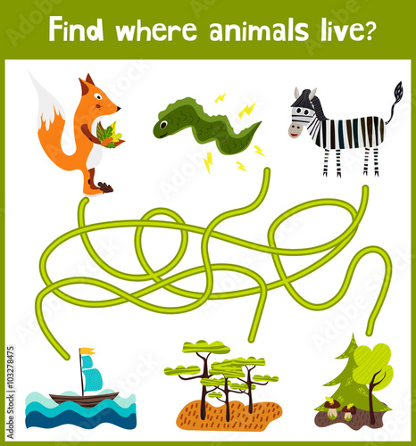and colorful puzzle game for children's development find where a Zebra ...