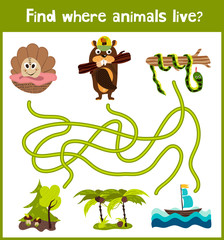 Bright cartoon educational puzzle game for children of preschool and school ages. Where to find what animals live seashell, beaver forest and tropical snake Anaconda. Vector