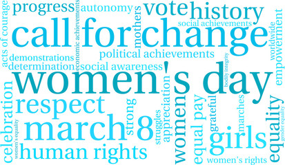 Women's Day word cloud on a white background.