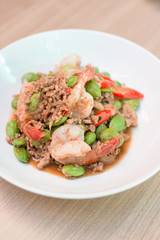 Fried spices shrimp with bitter bean (Parkia speciosa ) and shri