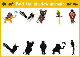 Cartoon Vector Illustration of Education Shadow Matching Game for Preschool Children need to find the shadow for each animal. Vector