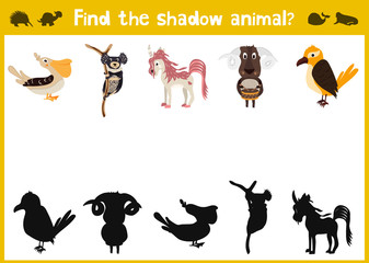 Mirror Image of five different animals a happy Visual Game. Task find the right answer black shadow animals. Vector