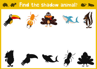Cartoon Vector Illustration of Education Shadow Matching Game for Preschool Children need to find the shadow for each animal. . Vector