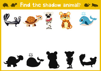 Mirror Image five different cute jungle animals Game Visual. Task find the right answer black shadow animals. Vector