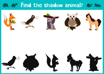 Mirror Image five different cute forest animals Visual Game. Task find the right answer black shadow animals. Vector