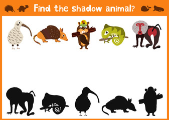Mirror Image five different cute animals and a good Visual Game. Task find the right answer black shadow animals. Vector