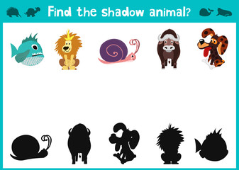 Mirror Image of five different animals happy and good Visual Game. Task find the right answer black shadow animals. All images are isolated on a white background. Vector