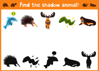 Mirror Image five different cute animals and a good Visual Game. Task find the right shadow image answer black. Vector