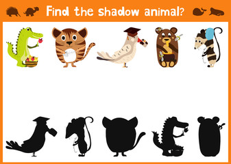 Mirror Image five different cute animals and a good Visual Game. Task find the right shadow image answer mirror. Vector