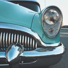 Vintage car with chrome grill