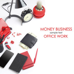 Office work tools tablet pencil notebook business concept