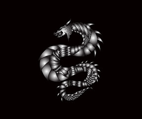Hand draw ornamental dragon outline illustration with decorative ornaments.