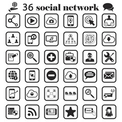 social network set icon