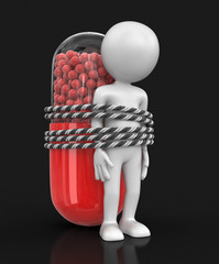 Man and capsule. Image with clipping path.