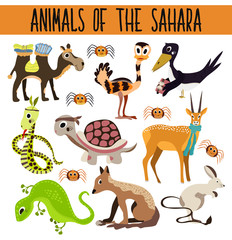 Set of Cute cartoon Animals and birds in hot deserts isolated on white background. Camel, turtle, Jackal, lizard, snake, ostrich, spider. Vector
