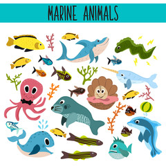 Cartoon Set of Cute sea Animals and living underwater in the waters of the seas and oceans .Shark, fish, piranha, octopus, mallusk,manatee, whale, Dolphin, narwhal,  corals and algae . Vector