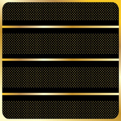 Abstract geometric pattern, gold lines and polka dot stripes on black background and gold frame. Vector file. Vintage, Retro