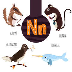 Fun animal letters of the alphabet for the development and learning of preschool children. Set of cute forest, domestic and marine animals with the letter n. Vector