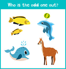 Children colorful educational cartoon game puzzle page for children's books and magazines on the theme get extra animal among marine fishes. Vector