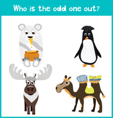 Children colorful educational cartoon game puzzle page for children's books and magazines on the theme get extra animal among animals living in cold polar landscapes. Vector