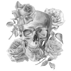 Monochrome illustration with skull and roses