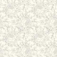 Floral seamless pattern . Flower outline doodle background. Flourish bouquet