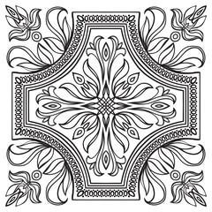 Hand drawing tile vintage black line pattern.