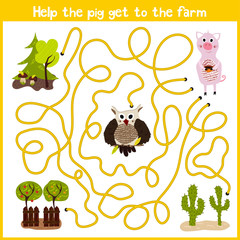 Cartoon of Education will continue the logical way home of colourful animals.Help get a cute pink pig home on a farm. Matching Game for Preschool Children. Vector