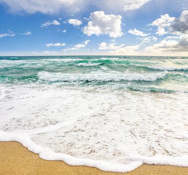sea waves breaking on the sandy beach