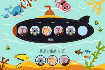 Cartoon Vector Illustration of Education will continue the logical series of colourful animals on submarine in the ocean among sea animals. Matching Game for Preschool Children. Vector