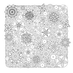 Monochrome floral pattern. Imitation of hand drawn flower doodle texture, decorative coloring book for grown up and adult. Endless drawing for stress relief. Zentangle.