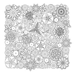 Vector monochrome floral pattern. Imitation of hand drawn flower doodle texture, decorative coloring book for grown up and adult. Endless drawing for stress relief. Zentangle.