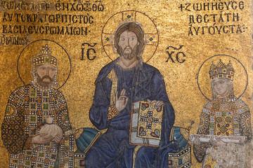Mosaic in Hagia Sophia museum, Istanbul City, Turkey