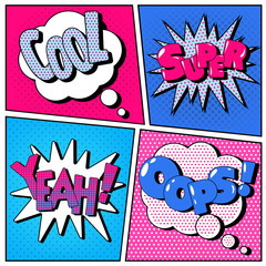 Set of Comic Bubbles in Pop Art Style. Expressions Cool, Super, Oops