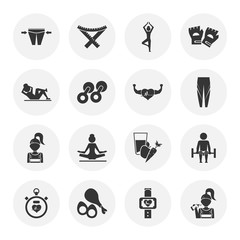 Set of sixteen sport and fitness icons