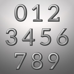 Silver convex metallic numbers on a silver background, vector illustration