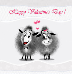"Romantic Illustration for greeting card ""Valentine's Day"" Couple happy sheep sends you a love. You can share your card on social media, to print this card or send it in a email."