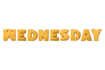 Wednesday ,Biscuits letters. Words