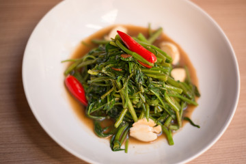 Stir fried of morning glory thai style