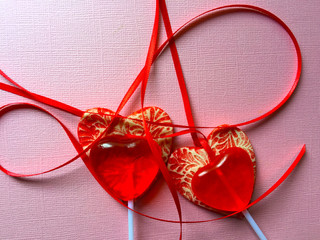 Valentine lollipops with copy space