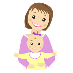 Mother and baby vector on white background