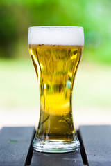 One glass of the light beer