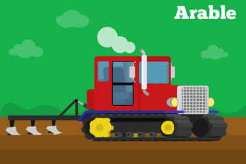 Banner of a agricultural crawler tractor with plow tillage field.