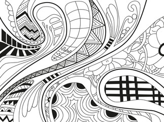 Abstract background with lines, wave and flowers.