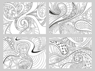 Set of four abstract background with lines, wave and flowers.