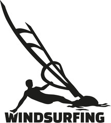 Windsurfing word with silhouette