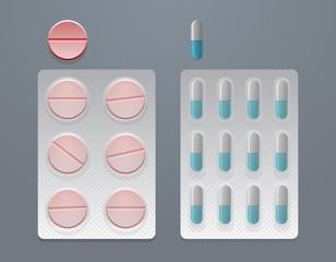 Vector set of pills and blister packs