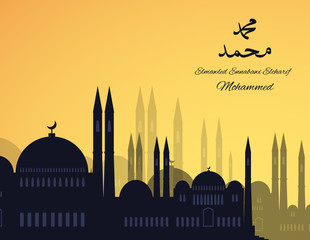 Mosques silhouette on sunset sky background. Vector